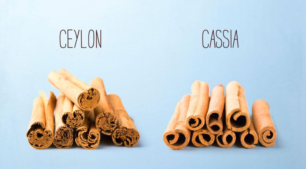 Ceylon Zimt und Cassia Zimt im Vergleich  - Freisteller mit Besc