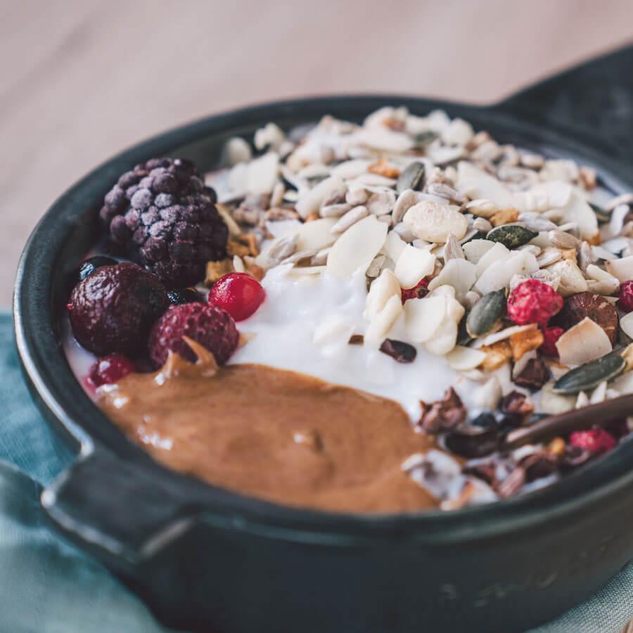 Erdnussbutter Topping Porridge