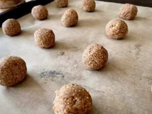 Rezept Mandel-Porridge Cookies mit Honig Teigkugeln