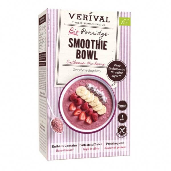 Strawberry-Raspberry Porridge Smoothie Bowl